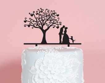 Couple with Tree and Dog Wedding Cake Topper