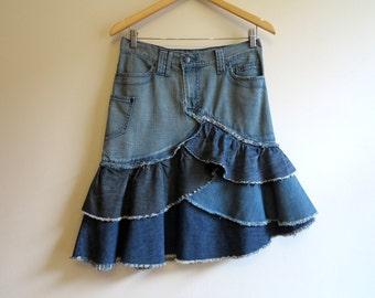 Small denim skirt | Etsy