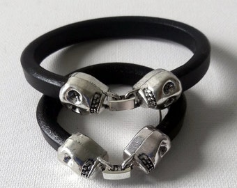 Father and Son Black leather skull closure modern design bracelet set, Deadhead leather cuffs