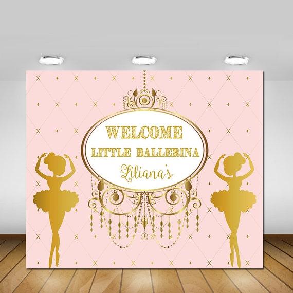 Printable Little Ballerina Royal Pink And Gold Backdrop
