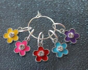 Flower 5-Piece Stitch Marker Set for Knitters Silvertone Enamel SMS720