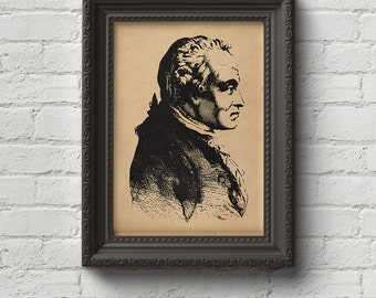 Immanuel Kant Portrait Print, Wall Art, Art, Woodcut, Engraving, Philosophy, Philosopher, Hegel, Nietzsche, Descartes, Hume, Cute Gift
