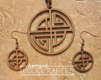 Wooden Geometric Necklace and Earring set (Walnut)