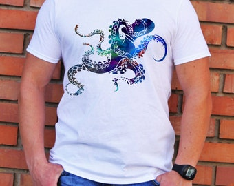 Cool Octopus T-shirt - Art Tee - Fashion T-shirt - White shirt - Printed shirt - Men's T-shirt - Gift