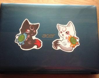 Chibiterasu Stickers, Okamiden stickers, Wolf Stickers, chibi wolf sticker, Amaterasu stickers, Okami, anime stickers, animal stickers, wolf