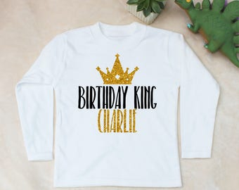 Personalised Birthday King Print White Long Sleeve Top T-Shirt
