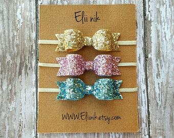 Bow headband, baby headband set, gold bow headband, glitter bow headband, set of 3 headband, Newborn headband