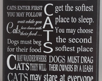 Plaque Cat Rules Black & White Plaque Wall Sign Cat Lover Gift Ex Large F1183