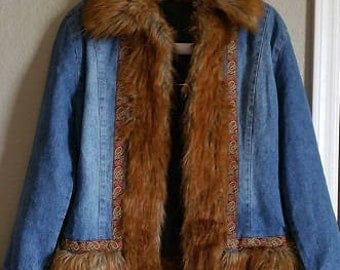 Vintage 1970s Denim Faux Fur Jacket