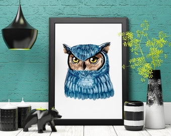 Watercolor Owl Art Print, Boho PRINTABLE art » Modern Decor » Home Decor » Digital Print » Watercolor Art » Gallery Wall » Instant Download