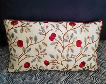 Embroidered silk floral pattern cushion cover with brown piping 35x60 cm