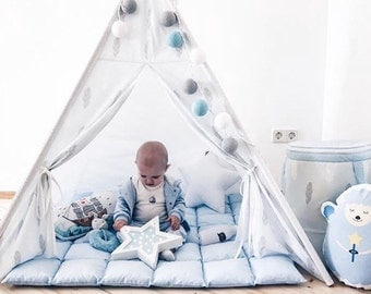 Kids Tepee Blue with feathers, Kids teepee tent, Kids teepee playtent, wigwam, Tipi, Tipi with poles, outdoor indoor play tent, gift for kid
