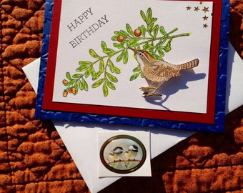 Bird Birthday Card, Wren, Berries on Branch, Happy Birthday Card, Nature, Birthday