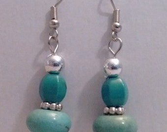 Blue Turquoise & Magnesite Earrings,Dangle,Drop,Jewelry,Earrings,Blue,Turquoise,Green,Gift Ideas,Gifts for Her,Gifts,Silver,Birthdays,Women