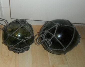 2 green glass fishing net floats/Buoys