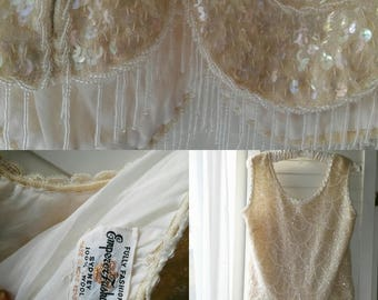 creme angora 1950's sequined evening top with beading