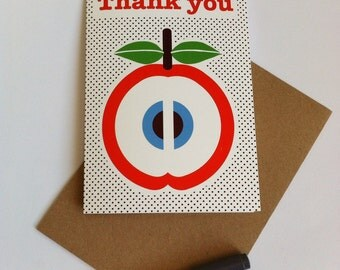Thank you card Pack - Retro Apple Design, 5 x A6 cards and kraft envelopes