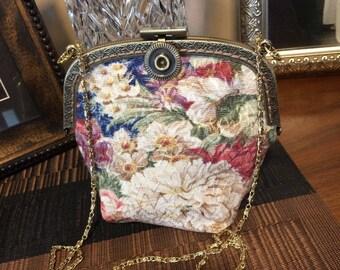 Handmade vintage barkcloth crocheted clutch, shoulder, or crossbody bag