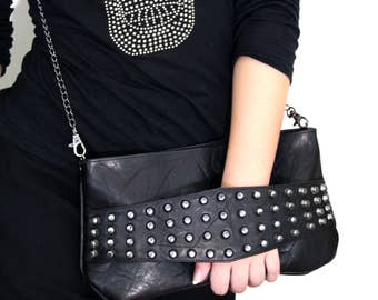 Leather Clutch with Rivets / Black leather clutch / Brutal Leather Clutch / Black leather bag / Leather Bag