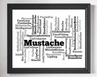 Mustache Word Cloud Art - Word Art, Word Cloud, Word Collage, Word Art Print, Mustache Art, Hipster Art, Mustache Print, Gifts for Him