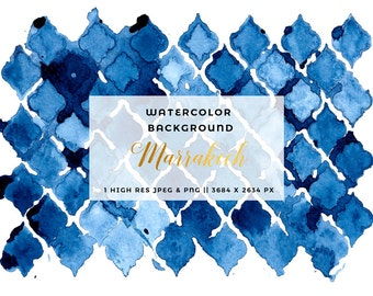 Abstract Watercolor Digital Paper, Printable Moroccan Print, Navy Blue Invitation Card Background, Watercolour Texture, Website Background