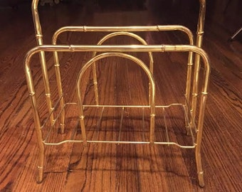 Vintage Brass Faux Bamboo Magazine Album Storage Rack 70's