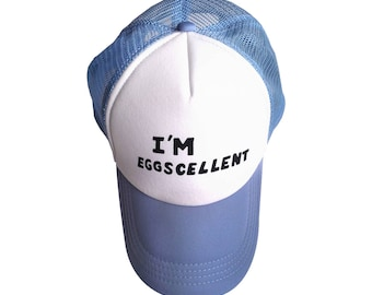 I'm Eggscellent Hat As Mordecai And Rigby Wear In The Regular Show TV Trucker Cap Cosplay Costume Eggcellent Excellent Gift Adult White Blue