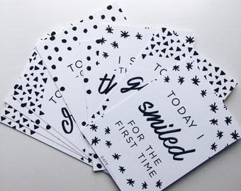 Baby Milestone Cards, Baby Photo Props, Newborn Gift, Baby Shower Gift, Baby Card, New Mum Gift, Monochrome Baby Gift, Birth Announcent