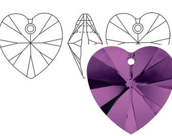 Swarovski 6228 Crystal Heart Pendant 10mm Amethyst 4PC 12PC