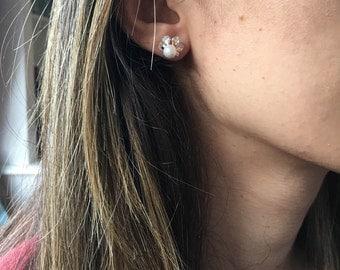 Freshwater Pearl Earrings, Pearl Earrings, Zirconia Earrings, Pearl And Diamond Earrings, Gold Earrings