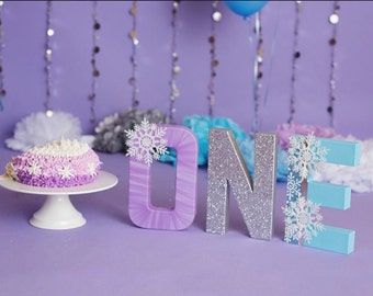 One Letters - Snowflake Decor - Snowflake Decorations - Winter Wonderland Decor - Winter Onederland - First Birthday Party - Glitter Letters
