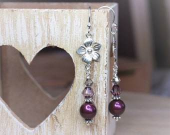 SALE Silver Flower and Purple Pearl Berry Earrings, sterling silver