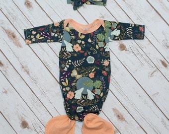 Floral Bunny Navy and Peach Mermaid Baby Gown & Headband