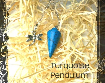 Turquoise Pendulum, Reiki jewelry, healing crystal, pendulum, spiritual, Dowsing, Scrying, healing stone, meditation, turquoise, dragonfly