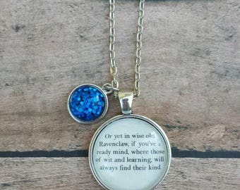 Ravenclaw Sorting Hat Necklace/ Harry Potter Jewelry/ Harry Potter Necklace/ Harry Potter Birthday Gift/ Bridal Party Gifts/ Gifts for Her