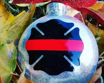 Firefighter gift, glitter ornament, firefighter ornament, firefighter Christmas ornament, thin red line, firefighter wife, Christmas