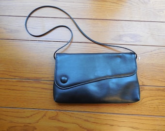Vintage Asymmetrical Black Clutch with Strap