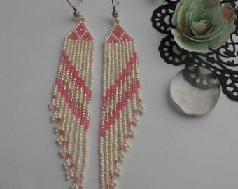 Pink beaded earrings Romantic jewelry Long dangle earrings Seed bead earrings Long beaded earrings Handmade jewelry earrings Dangle fringe