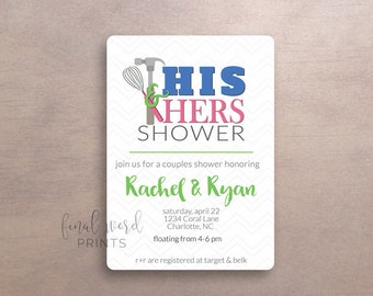 His and Hers Wedding Shower Invitation, Wedding Shower, Digital Shower Invite, Custom, Wedding