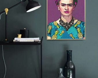 Frida Kahlo PRINT, Frida Kahlo Poster, Wall Art, Frida Portrait, Abstract Painting, Frida Art, Portrait, Retro Art, Oversized Wall Art
