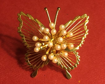Vintage Monet Gold Faux Pearl Butterfly Brooch