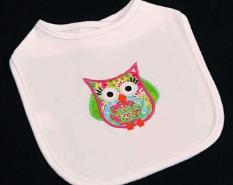 Baby girl applique owl bib