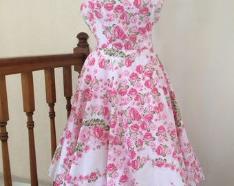 Handmade reproduction 1950's style dress with full circle skirt