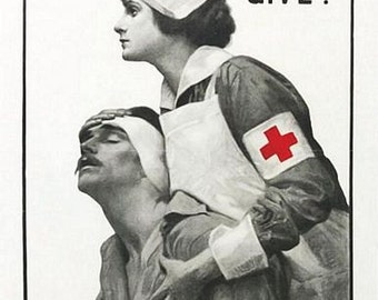 Vintage World War 1 Red Cross Appeal Poster  A3 Print