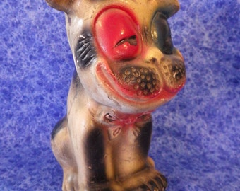 Vintage BOSTON TERRIER BULLDOG with Red Derby Carnival Chalkware from the 1940s