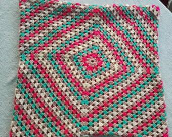 Large Crochet Retro Cushion Cover - upcycled