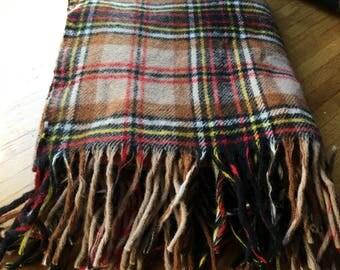 Pendleton 100% Virgin Wool Tartan Stadium Blanket From The 1960's, Wool Rug