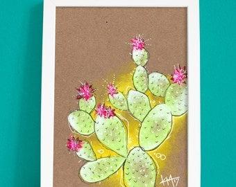 Original Cactus Botanical Illustration Palm Springs Desert Art