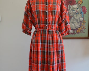 Handmade from Vintage Fabric Red Gingham Picnic Print 3/4 Sleeve Dress, Retro, Autumn Vibes