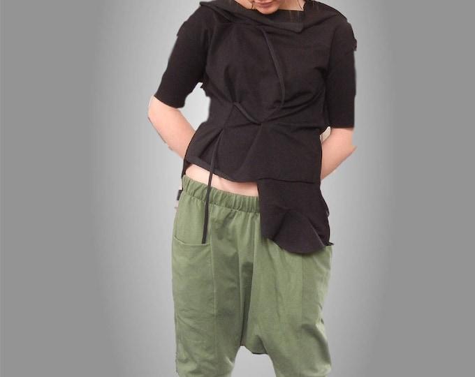 Flattering Black Asymmetric Drapped Tank Top, Deconstructed Avant Garde Top, Loose Alternative Top, Clubwear, Party Top, Sexy Black Top
